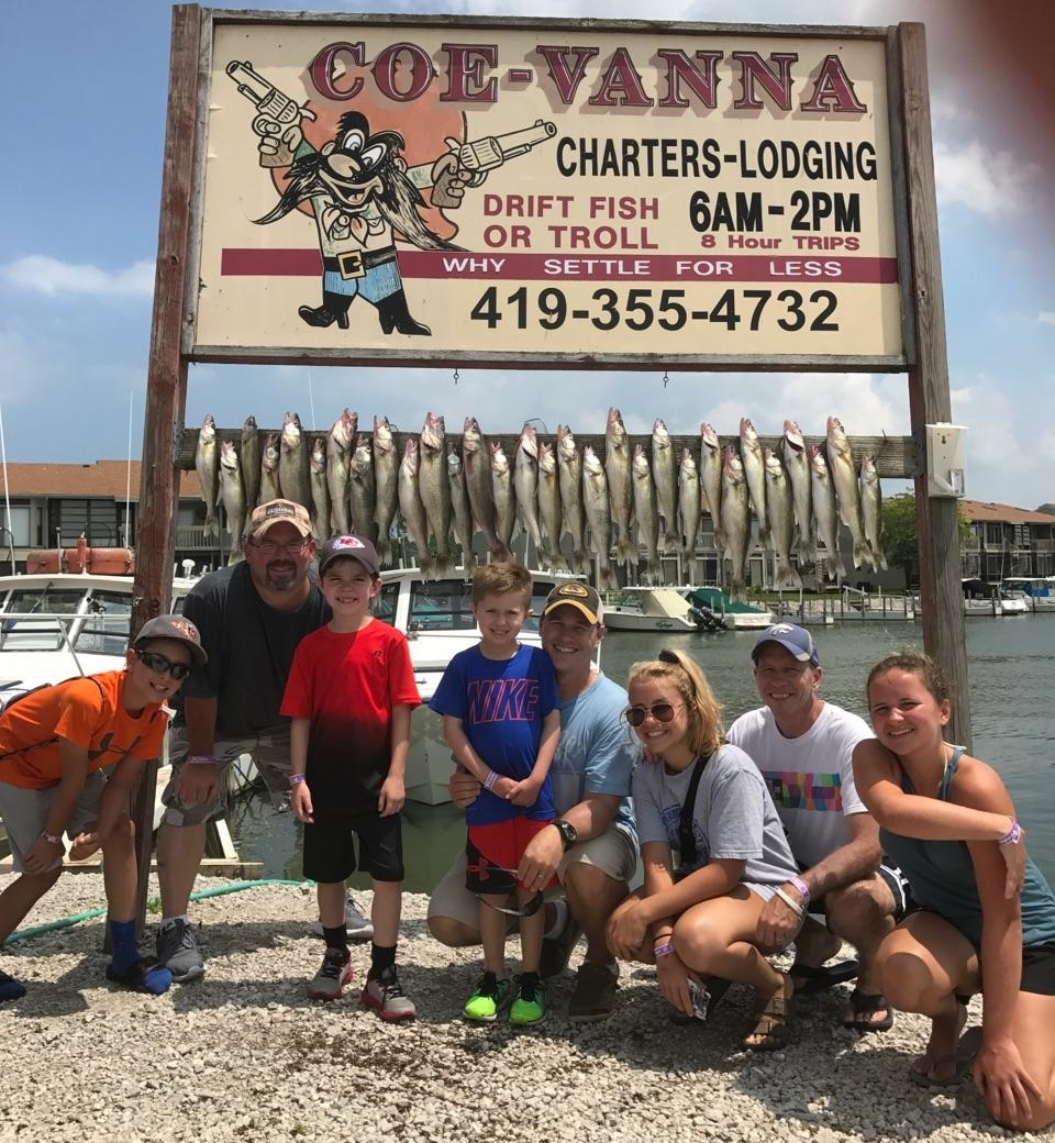 Coe Vanna Charter fishing boats on Lake Erie, fishing east if Toledo in Port Clinton, OH