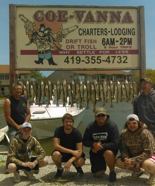 Walleye fishing on Lake Erie with Coe Vanna Charters, Port Clinton, Oh.