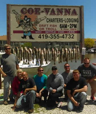Coe Vanna Charters fishing east of Toledo and west of Sandusky in Port Clinton, OH. Lake Erie fishing charter boats