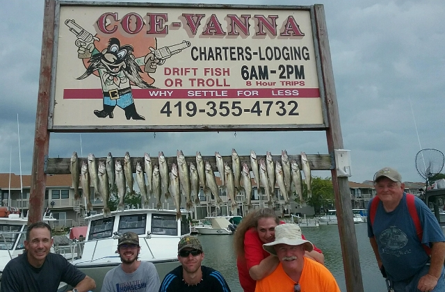 Lake Erie fishing charter, fishing trips west of Cedar Point Amusement Park in Port Clinton, OH
