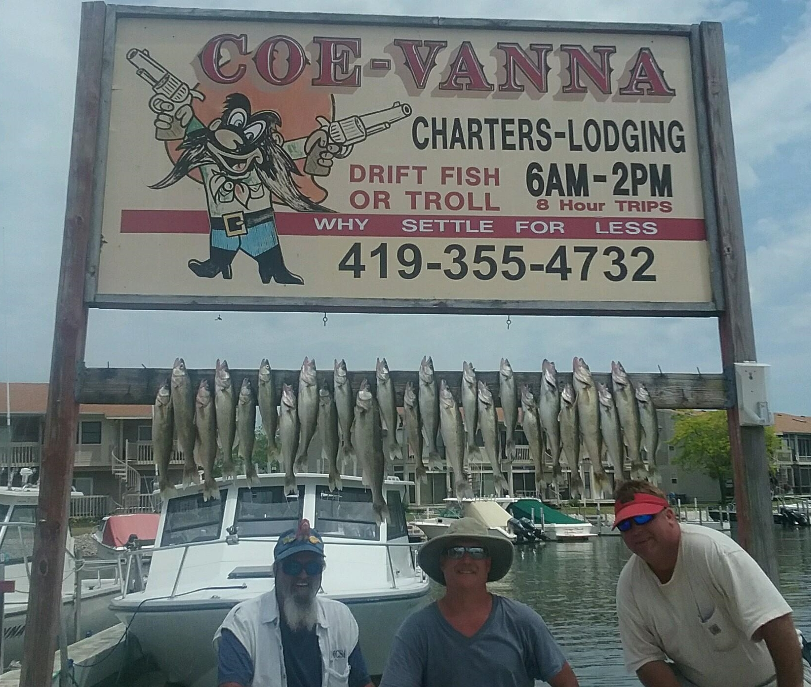 Walleye fishing on Lake Erie from Port Clinton, OH. with Coe Vanna Charters